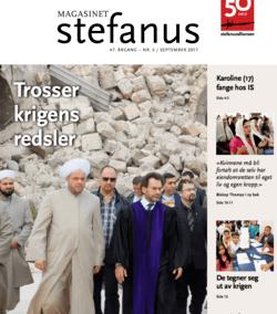 Forside av Magasinet Stefanus, en pastor og muslimske ledere i ruiner i Aleppo i Syria. Magasinet Stefanus er utgitt av Stefanusalliansen.