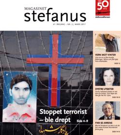 Bilde av kristen i Pakistan, drept av terrorister. Hans bilde henger på en kirkevegg som minne om at han er martyr. Forsiden av Magasinet Stefanus, utgitt av Stefanusalliansen.