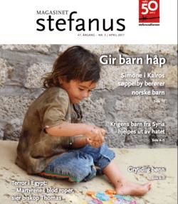 Simone i Kairos søppelby, på forsiden av Magasinet Stefanus, utgitt av Stefanusalliansen.