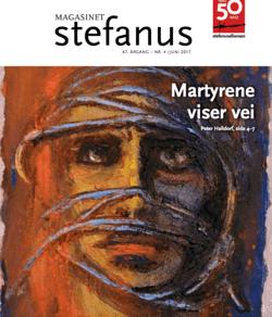 Et martyrbilde, malt av Reidar Kolbrek, på forsiden av Magasinet Stefanus. utgitt av Stefanusalliansen.