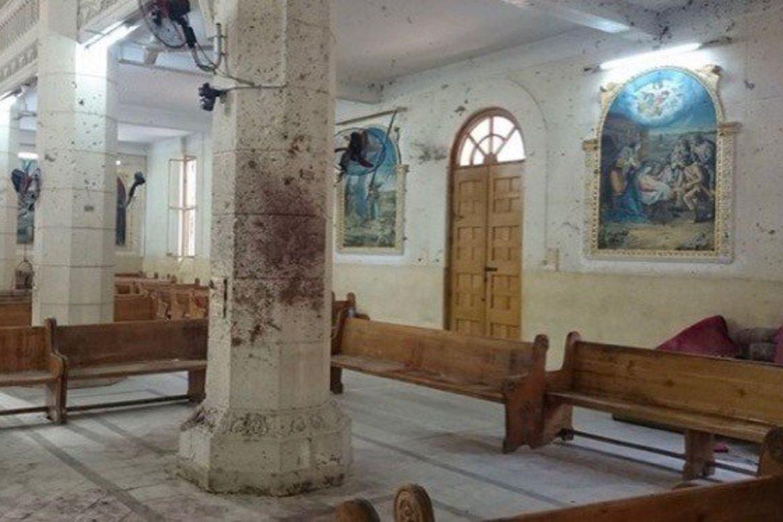 Denne kyrkja i tanta i Egypt blei ramma av terror påska 2017.
