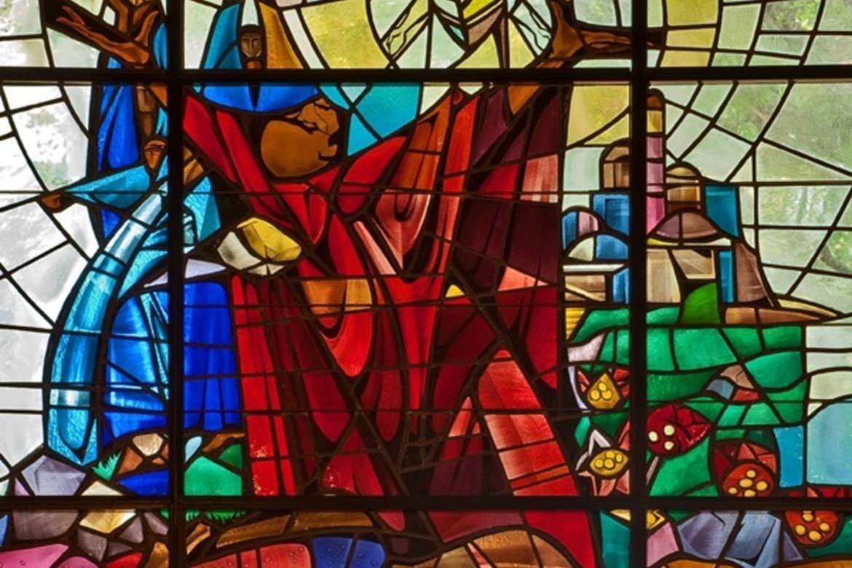 Steiningen av Stefanus. Glassmaleri fra den lutherske St. Stephen's Church i Florida. Glassmaleriet er laget av The Willet Stained Glass Studios i Philadelphia, USA.