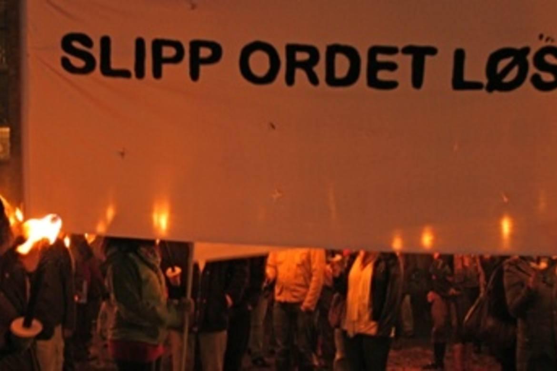 Fra fakkeltoget i Oslo oktober 2011, utenfor Domkirken.