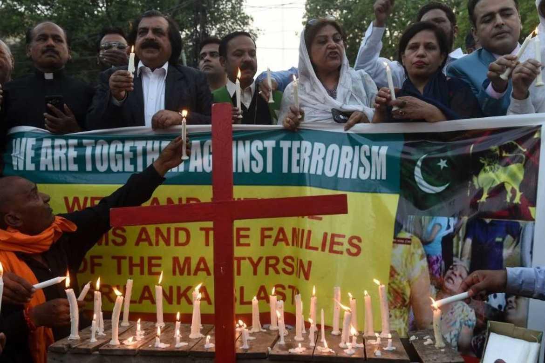 Protester mot terrorisme i Sri Lanka.