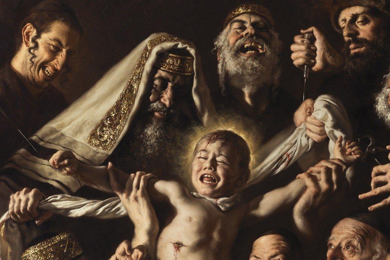 Giovanni Gasparros nymalte bilde av flirende jøder som med blodstenkte fingre kveler en gutt mens de tapper blod, vekker avsky – og glede.