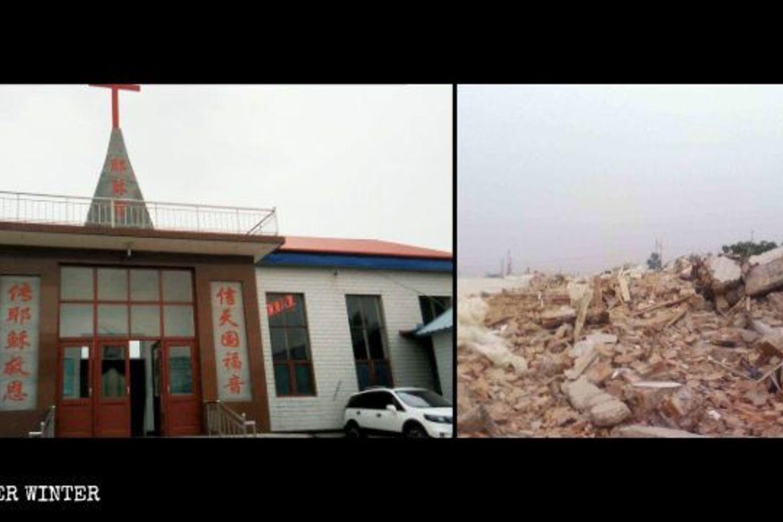 Kirken i byen Hanan ble jevnet med jorda av lokale myndigheter.