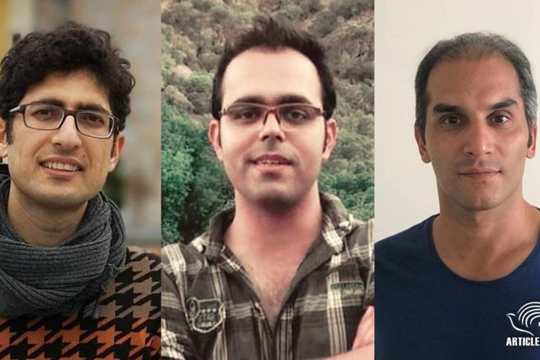 Kavian Fallah-Mohammadi, Amin Afshar-Naderi og Hadi Asgari (fra venstre mot høgre) er dømt til i alt 35 års fengsel. Nå er de ute av Iran.