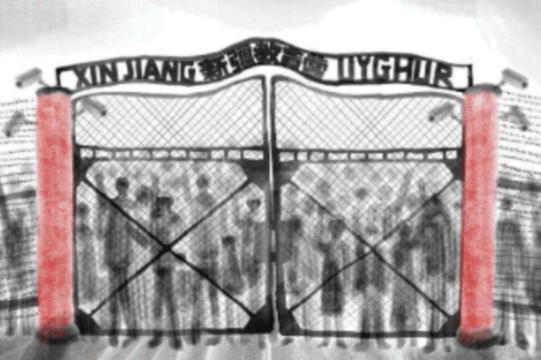 Tegningen er kalt Auschwitz Xinjiang. Kunsteren Baducao har laget dette for CSW for å vise leirene uigurer sperres inne i.