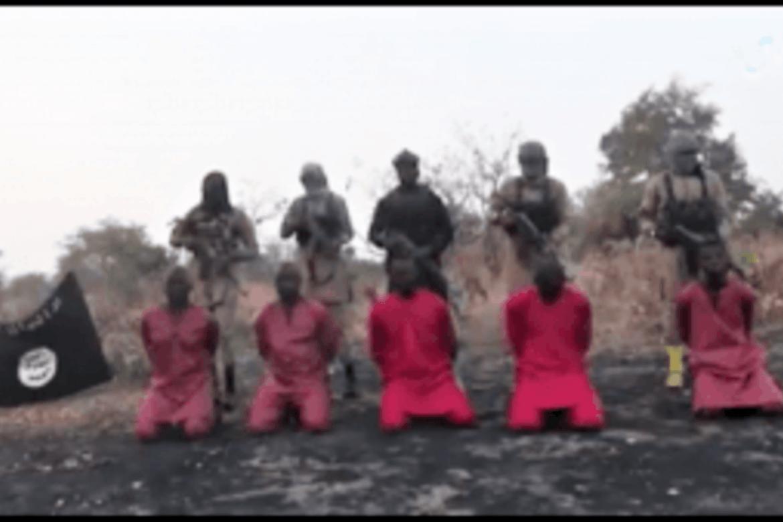Islamske terrorister henretter fem kristne nordøst i Nigeria 29. desember. Skjermdump fra video som er publisert av IS.