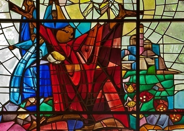 Nyere glassmaleri i en protestantisk «St. Stephen's Church» i Florida. Laget av «The Willet Stained Glass Studios, Philadelphia».
