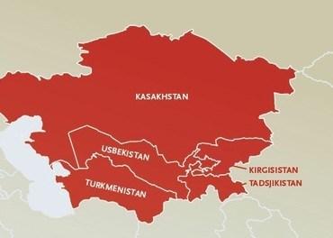 De fem republikkene i Sentral-Asia ligger mellom Russland, Kina, Afghanistan, Iran og Det kaspiske hav.