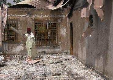 En nigeriansk kirke ødelagt av islamistiske ekstremister.