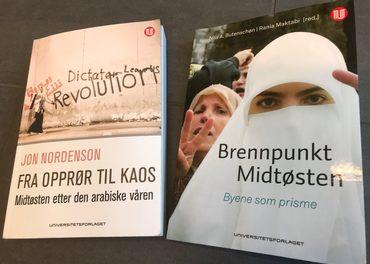 «Fra opprør til kaos. Midtøsten etter den arabiske våren» og «Brennpunkt Midtøsten. Byene som prisme» er begge gitt ut på Universitetsforlaget.