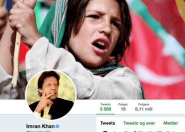 Imran Khan, valgvinner i Pakistan, sikret mange unge stemmer. Her er hans twitter-konto.