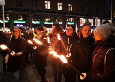 Frå fakkeltoget i Bergen 29. oktober 2018