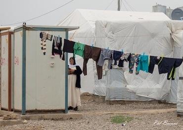 En kvinne i en leir for internt fordrevne jesidier i Duhok i Nord-Irak.