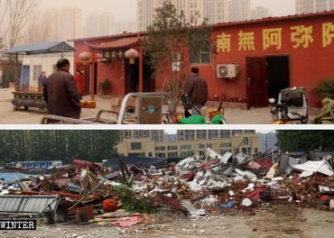 Eit buddhistisk tempel i Sehan i Kina blei øydelagt.