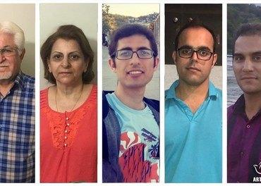 Dømte kristne i Iran: fra venstre: Victor Bet-Tamraz, hans kone Shamiram, Kavian Fallah-Mohammadi, Amin Afshar-Naderi og Hadi Asgari.