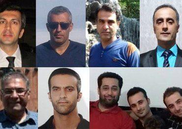 De ni dømte: Fra venstre, øverst: Mohammed Vafada, Kamal Naamanian, Hossein Kadivar, Khalil Dehghanpour,  Behnam Akhlaghi, Mehdi Khatibi, Babak Hosseinzadeh, Shahrooz Eslamdoost og Abdolreza Ali Haghnejad.