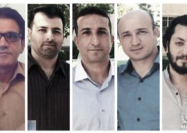 Kristne i Iran: Fanger i Evin-fengslet i Teheran, fra venstre Nasser Navard Gol-Tapeh, Zaman (Saheb) Fadaee, Yousef Nadarkhani, Mohammad Reza (Youhan) Omidi og Mohammad Ali (Yasser) Mossayebzadeh.