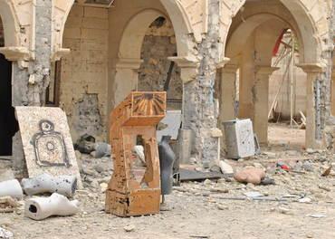 I Mosul oppretta IS eit treningssenter i ei kyrkje, her er ruinane.