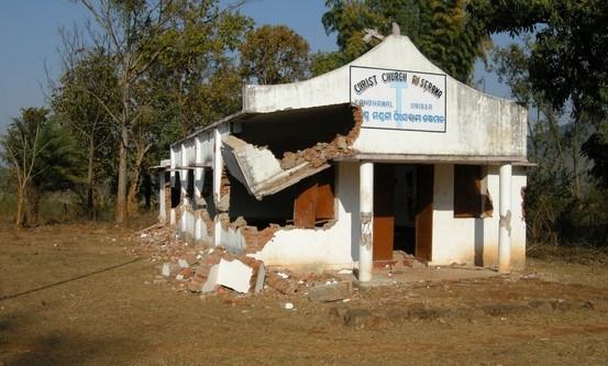 Kirke i Kandhamal distrikt i India, som ble ødelagt i opptøyer i 2008.