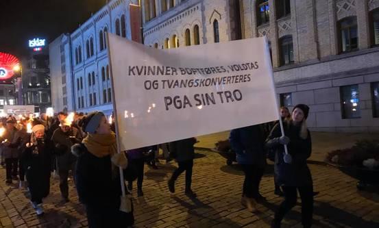 Foto: Fra fakkeltoget i Oslo i 2019